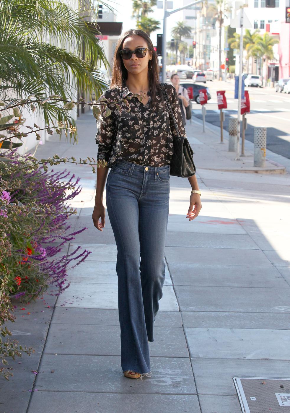 Zoe Saldana heads out on errands around Los Angeles