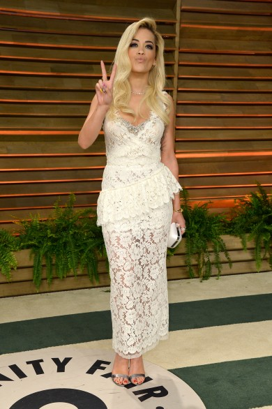 Vanity Fair Oscar Party Fug Carpet: Rita Ora in Miu Miu