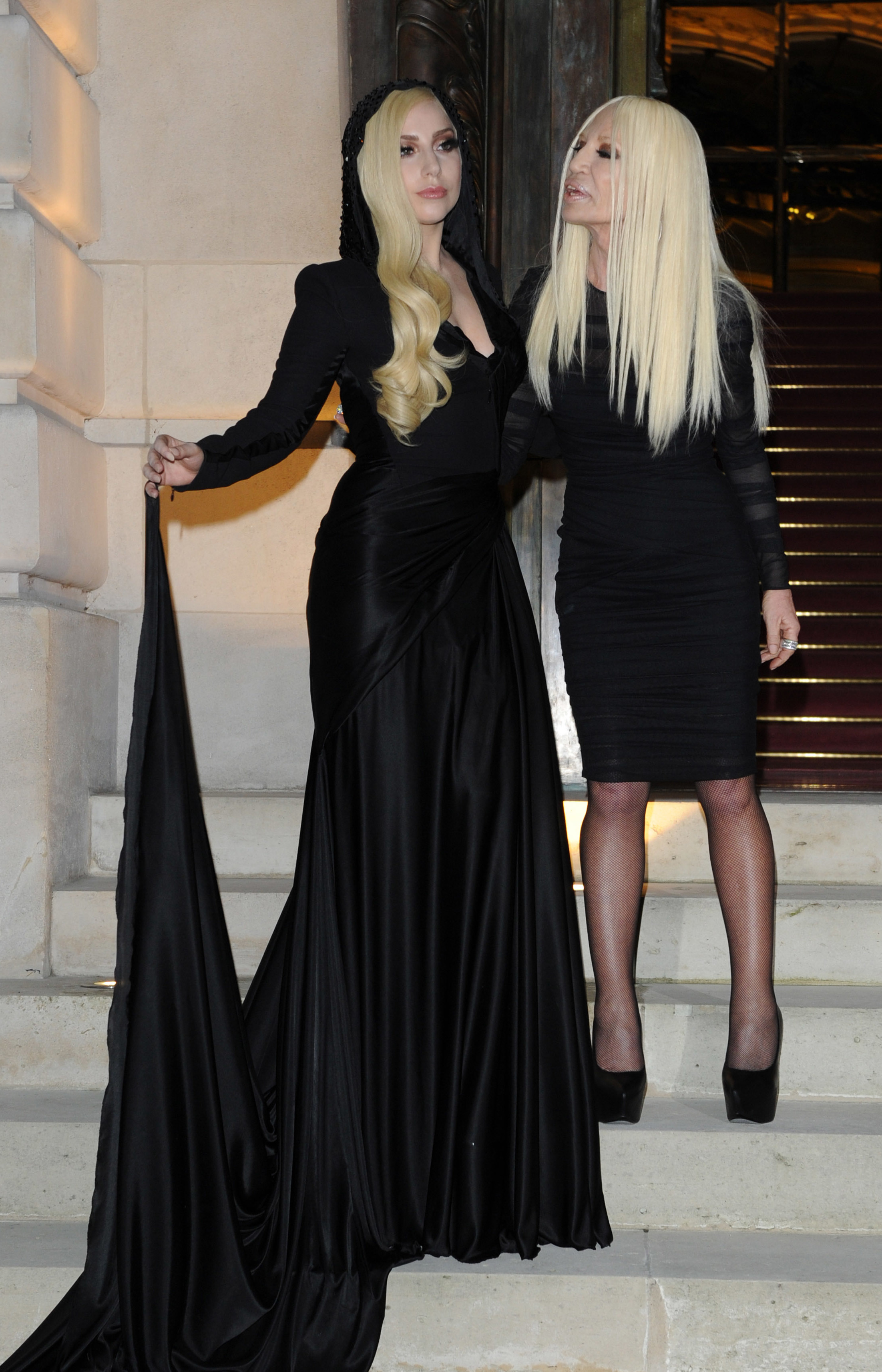 Lady Gaga and Donatella Versace attend the Atelier Versace fashion show