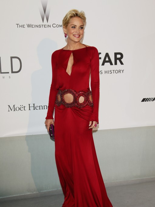 amfAR Fug Carpet at Cannes: Sharon Stone in Roberto Cavalli