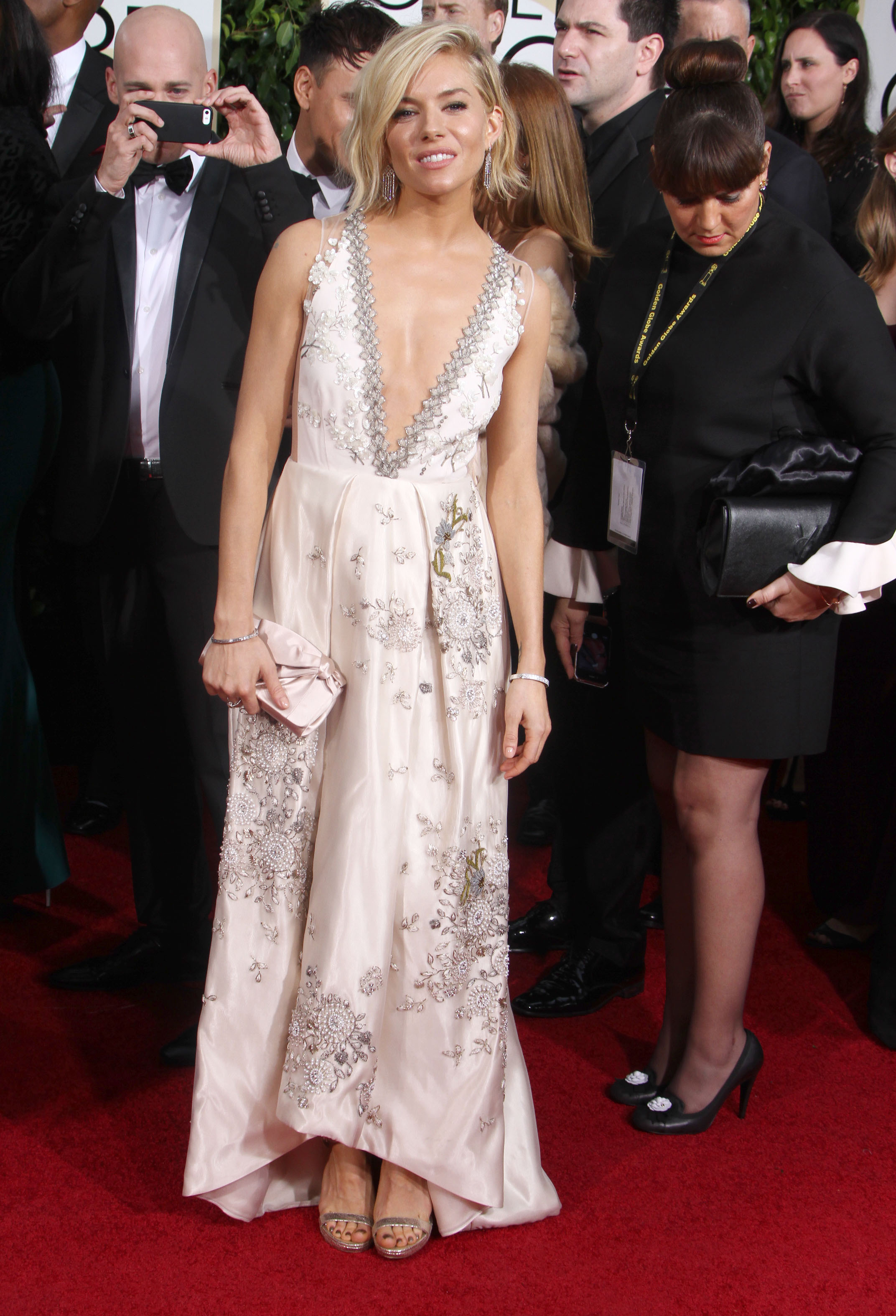 Golden Globes Fug Carpet: Sienna Miller in Miu Miu