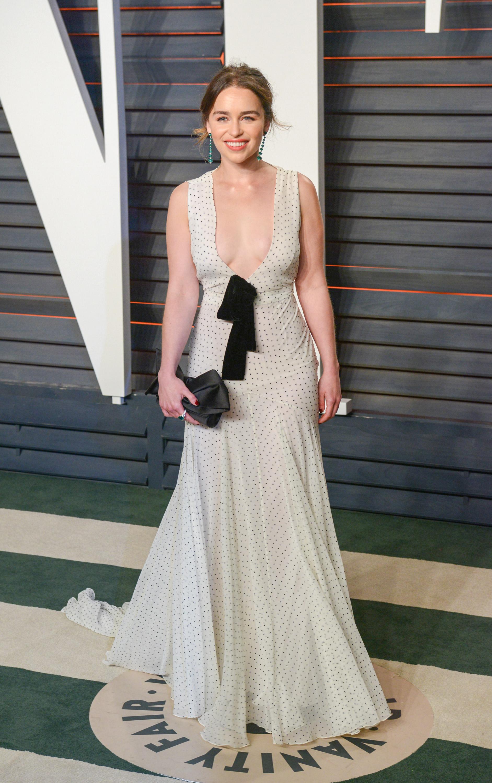 Oscars Fug Carpet: Emilia Clarke in Miu Miu