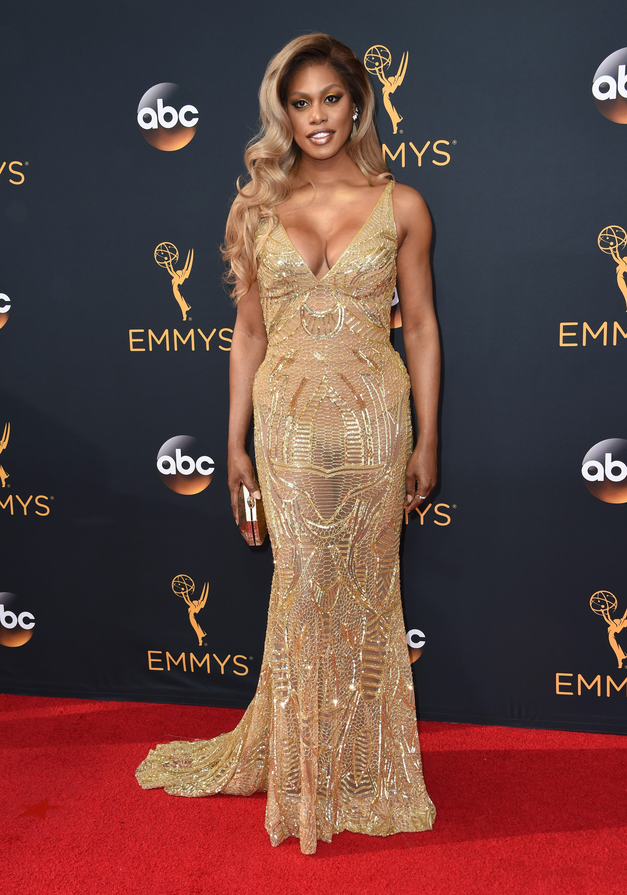 Nearly Well Played: Laverne Cox in Naeem Khan at the Emmy Awards