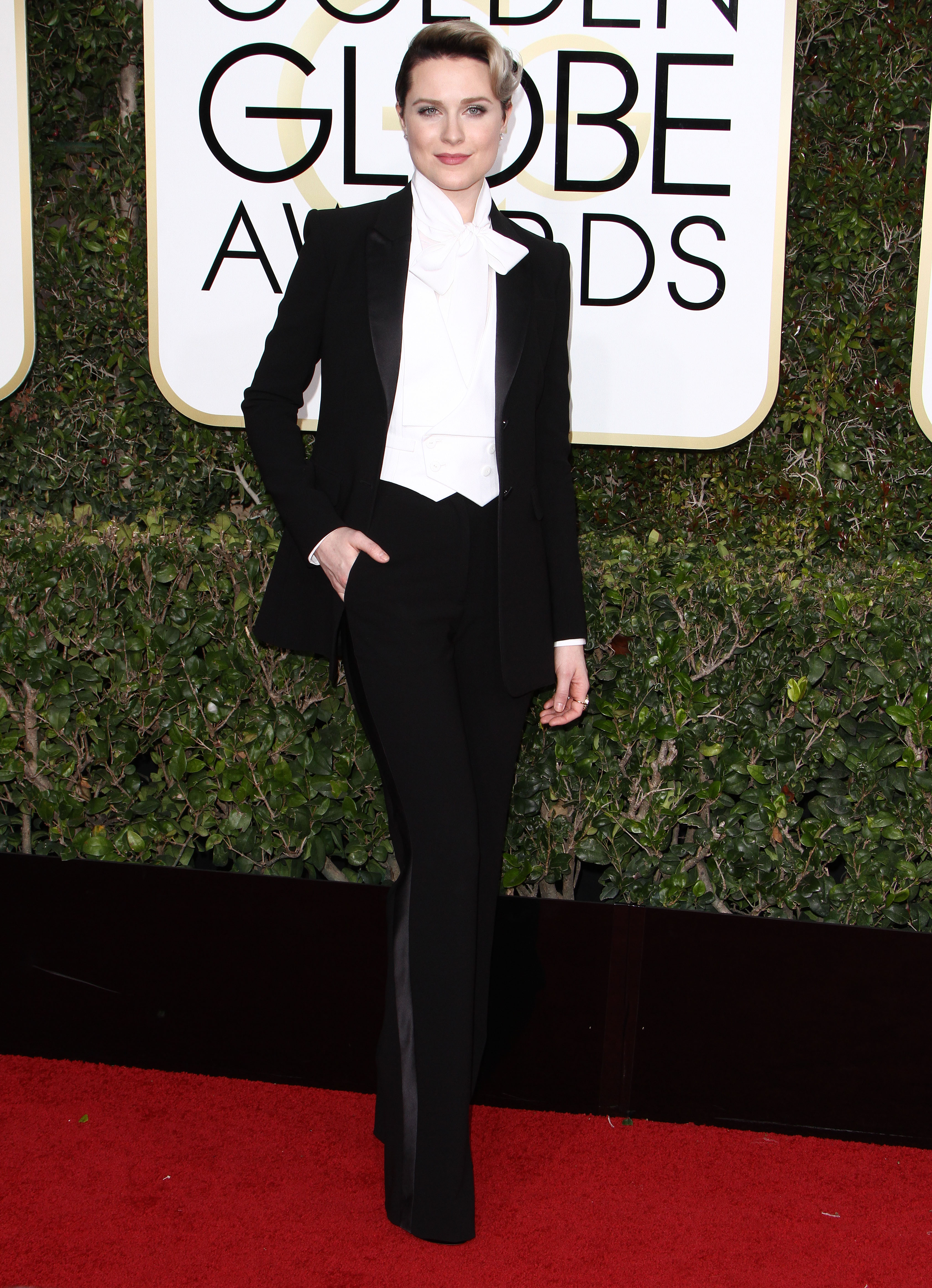 Golden Globes 2017: Evan Rachel Wood Is VERY COOL in Altuzarra (and Other Suits)