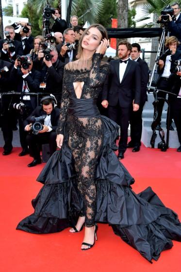 Emily Ratajkowski in Peter Dundas at Cannes
