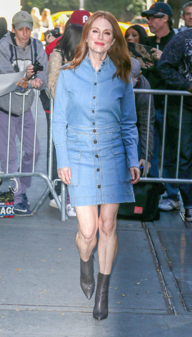Julianne Moore at The View Wearing a Denim Dress