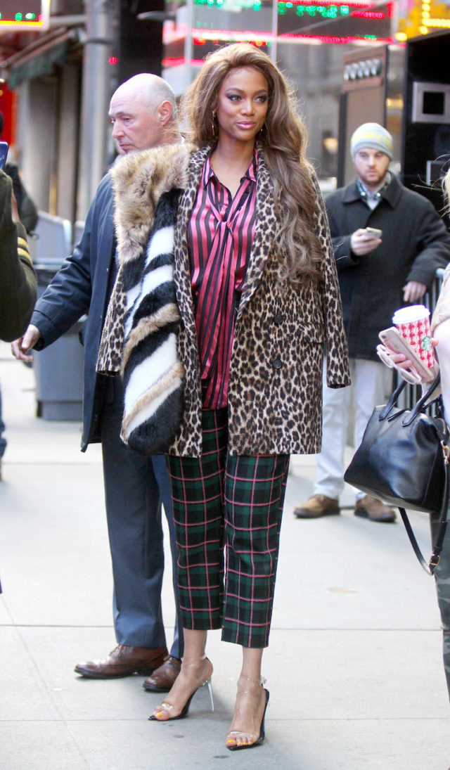 Tyra Banks in Multi Print Outfit Outside of the Today Show