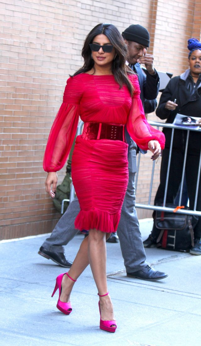 Priyanka Chopra Rocks a red Dress at The View