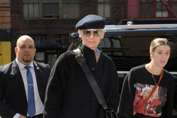 Tilda Swinton Arrives at her Hotel